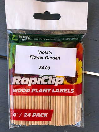 "Wood Plant Labels 4"" 24-pak"