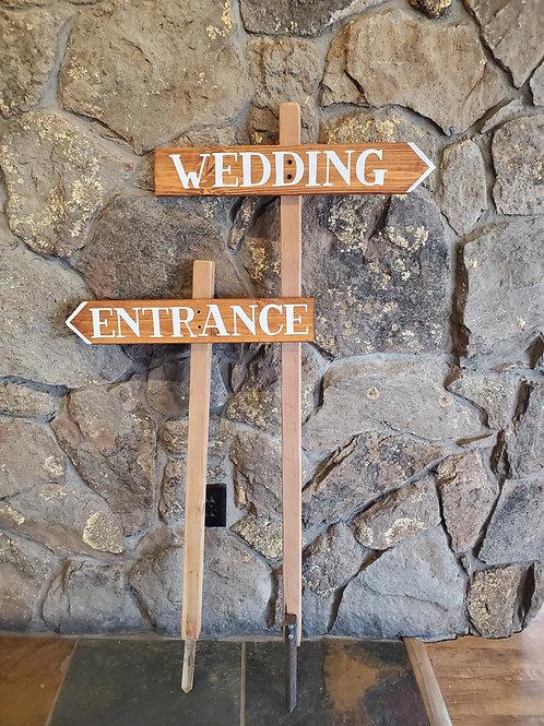 "Wooden ""Wedding"" + ""Entrance"" Arrow Signs"