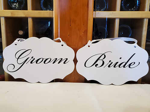 "Double Sided ""Bride"" and ""Groom"" + ""Thank"" ""You"" Signs"