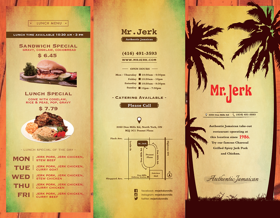 Mr Jerk Menu A
