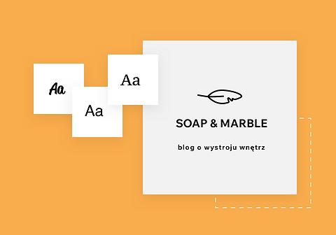 Logo marki z sugestiami projektowymi i nazwą bloga Soap & Marble.