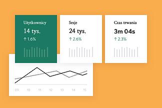 Narzędzie Google Analytics pokazujące dane marketingowe.