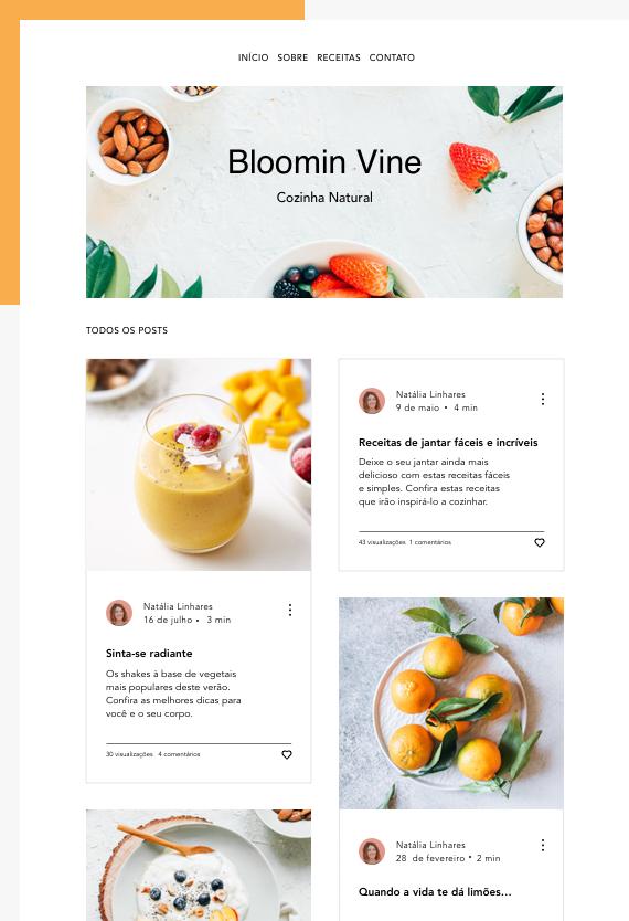 Blog de gastronomia Bloomin Vine com fee