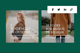 Site de blog de moda com barra de rede social.