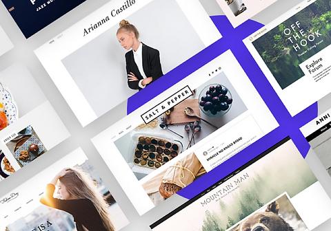 Exemplos de diferentes templates de blog