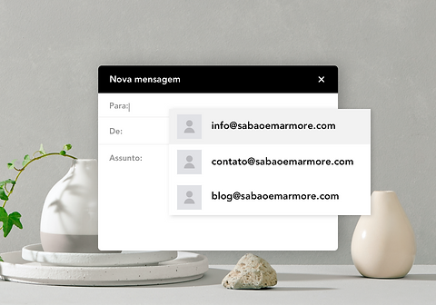 Exemplos de endereço de email de blog personalizado.