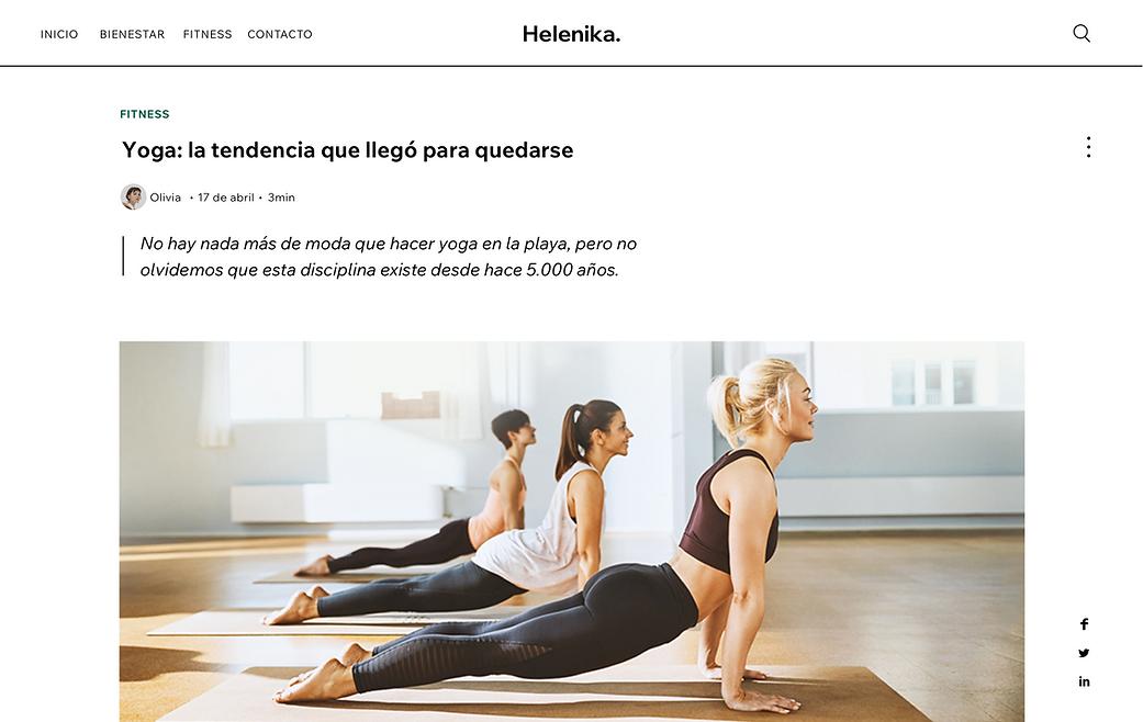Blog de fitness Helenika con una publica