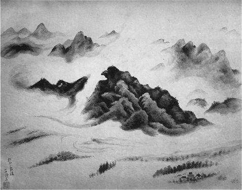小川芋銭作「浮動する山岳」に隠し絵