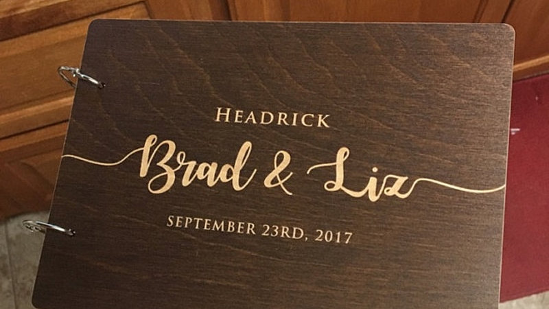 Personalized Wedding Guest Book, Wooden