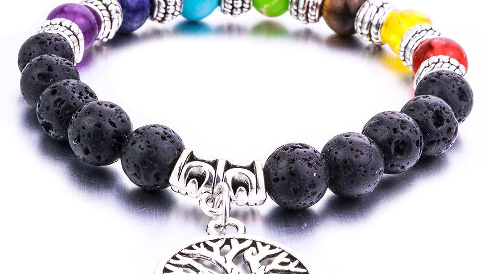 Lava Stone Tree of Life 7 Chakra Healing Balance Beads
