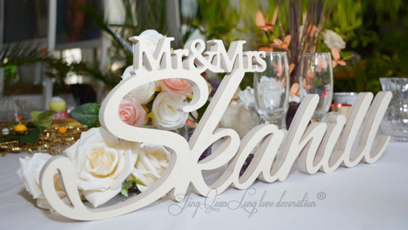 Mr and Mrs Last Name Table Sign, Personalized