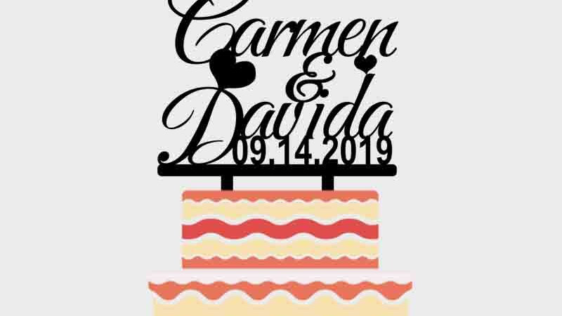 Custom Couple Names Wedding Date Personalized Cake Topper