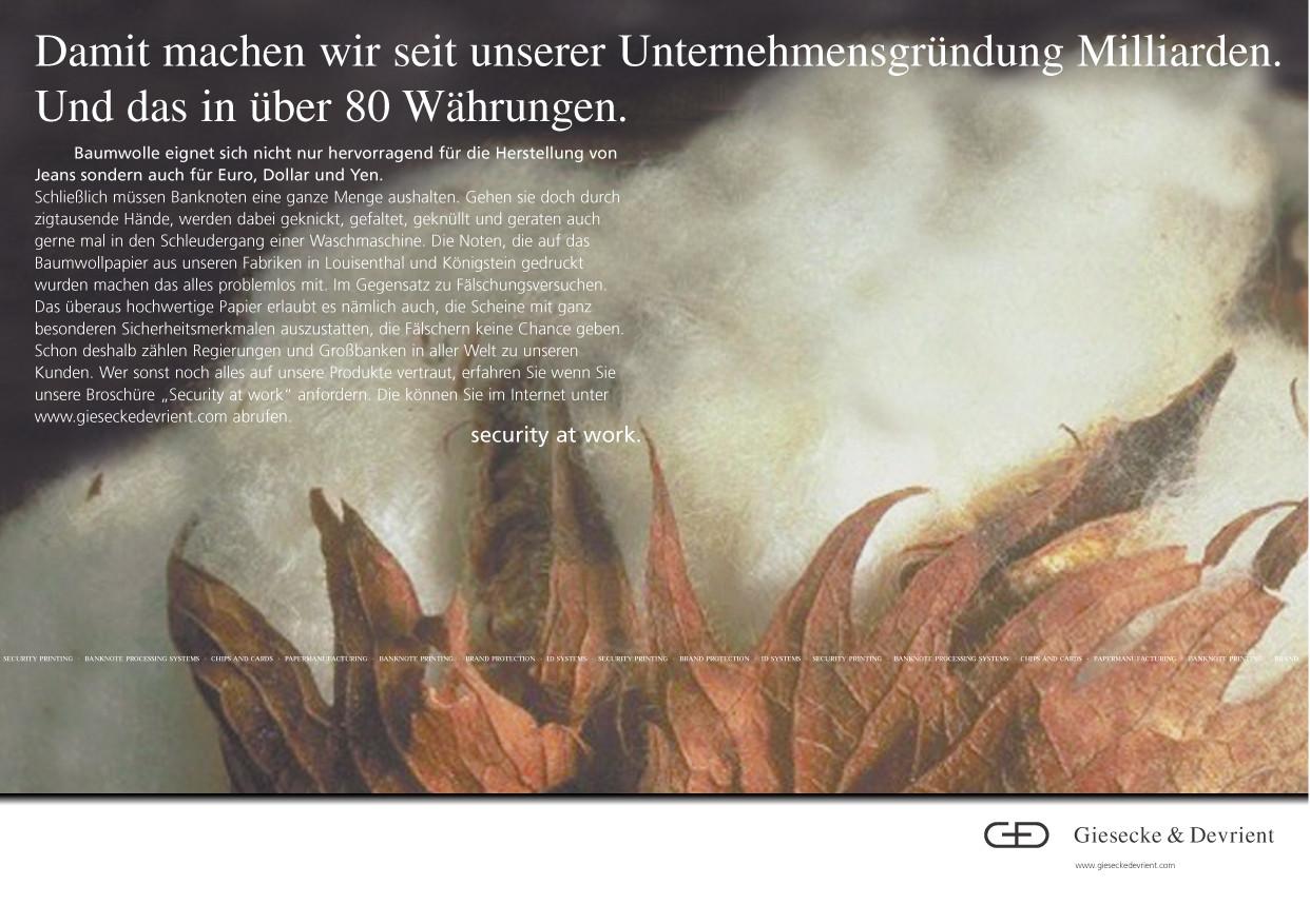 Giesecke & Devrient - Baumwolle / Bestandteil von Papiergeld