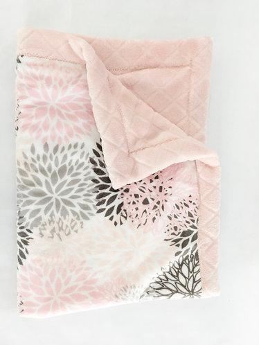 Minky Blanket Pink Blooms on Pink