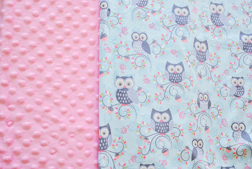 Minky Blanket Teal Owls with Blush Pink