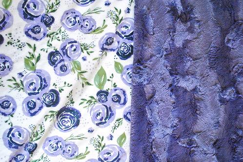 Minky Blanket Purple Flowers and Purple Hide Luxe