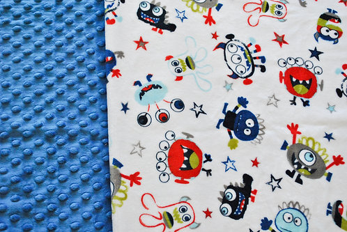 Minky Blanket Monsters with Royal Blue Dimple