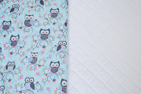 Minky Blanket Teal Owls with White