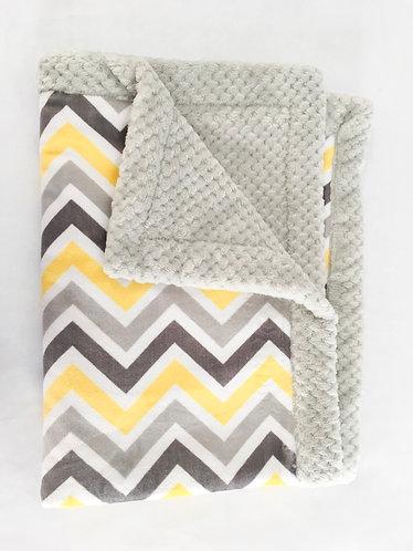 Minky Blanket Yellow Chevron with Grey