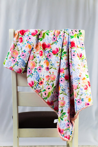 Peony Floral and Pink Minky Blanket