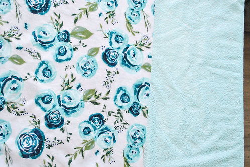 Minky Blanket Teal Flowers with Teal Sparkle