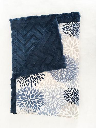 Minky Blanket Blue Blooms on Blue Chevron