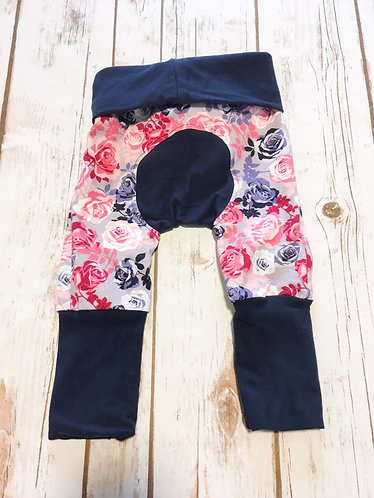 Grow With Me Pants (Maxaloons) Navy and Roses
