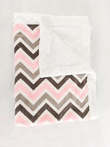 Minky Blanket Pink Chevron on White