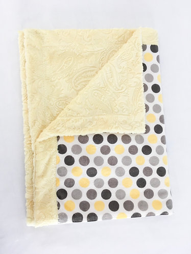 Minky Blanket Yellow and Grey Dots on Yellow Paisley
