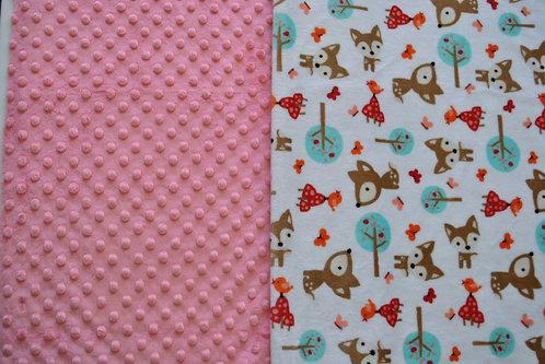 Minky Blanket Deer with Coral Dimple