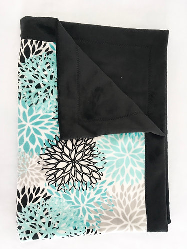 Minky Blanket Teal Blooms on Black