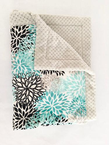Minky Blanket Teal Blooms on Grey