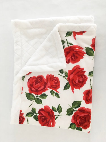 Minky Blanket Red Roses with White