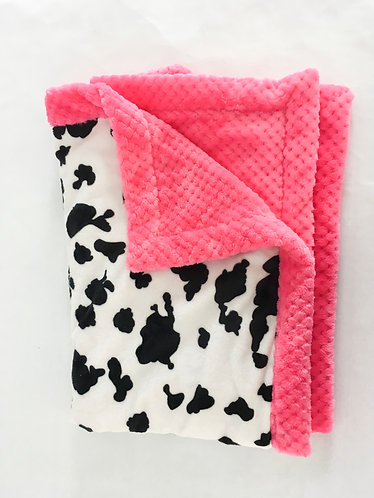 Minky Blanket Cow Print with Pink