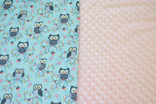 Minky Blanket Teal Owls with Coral Dimple