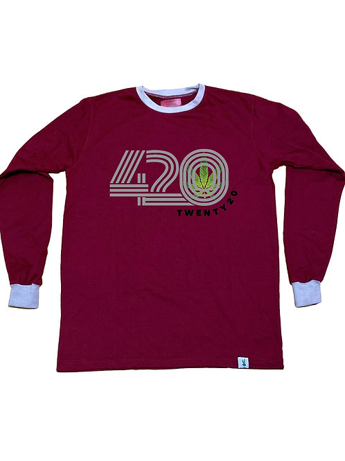 Maroon Long Sleeve w/ Grey Cuff and Neck line