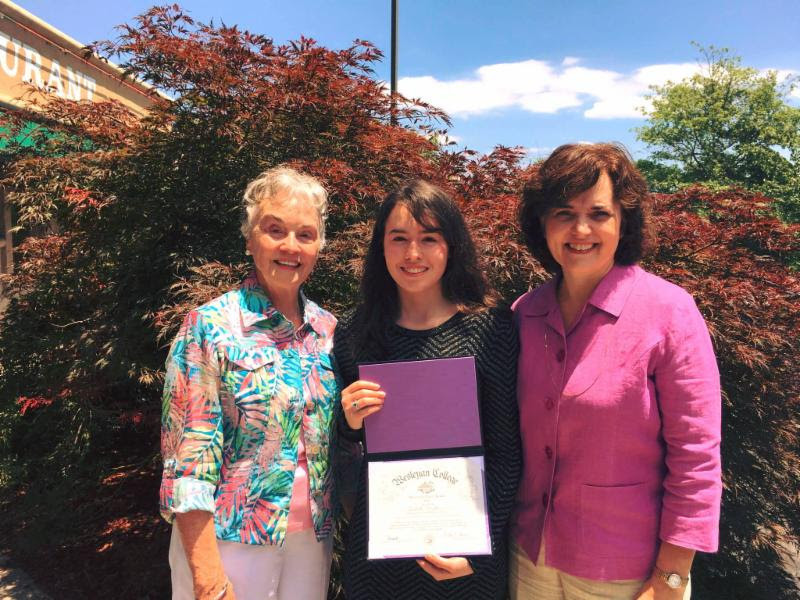Wesleyan First Award recipient Andrea Morgan '22 is excited about attending Wesleyan in the fall of 2018. The announcement was made at Andrea's high school during awards day. Pictured (from left) Andrea's grandmother Jeanette Loflin Shackelford '61, Andrea, and award presenter Denise Cheek Brown '89.
