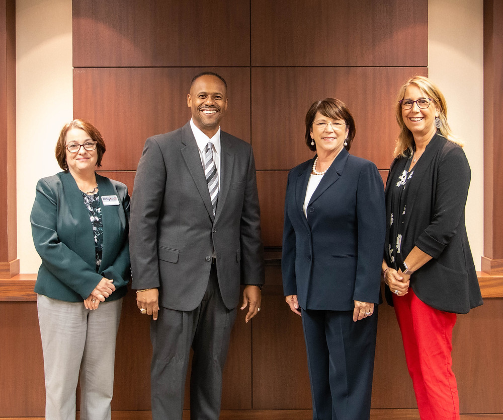 Central Georgia Technical College's vice president of Academic Affairs, Dr. Amy Holloway and president, Dr. Ivan H. Allen, join Wesleyan College's president, Dr. Vivia L. Fowler, and provost, Dr. Melody Blake following a historic first articulation agreement signing between the two institutions.
