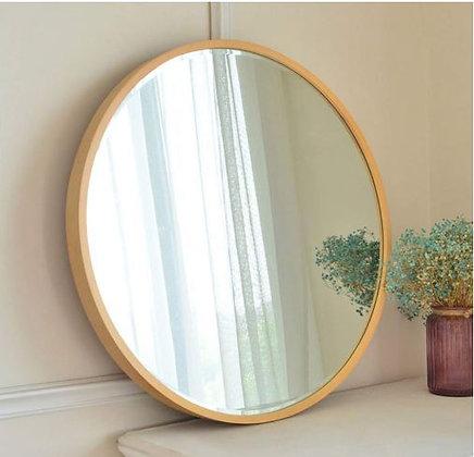 Espejo circular 50 cm marco símil madera/dorado/negro