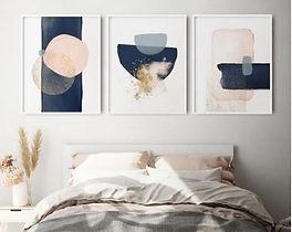 Tripticos Semicirculos color Nude y Azul