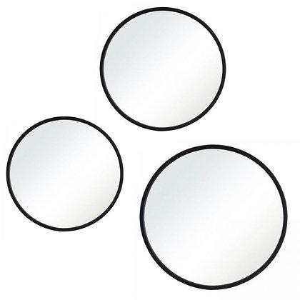 Triptico Grande de espejos Marco negro