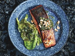 Salmon with Hazelnut Relish