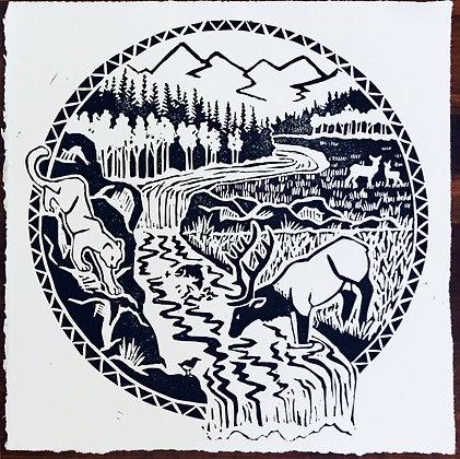 Foothills Autumn Block Print
