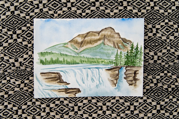 Small Athabasca Falls Watercolour