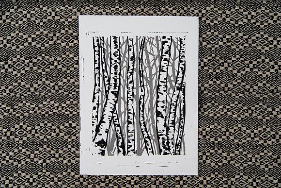 Aspens Block Print (Grey)
