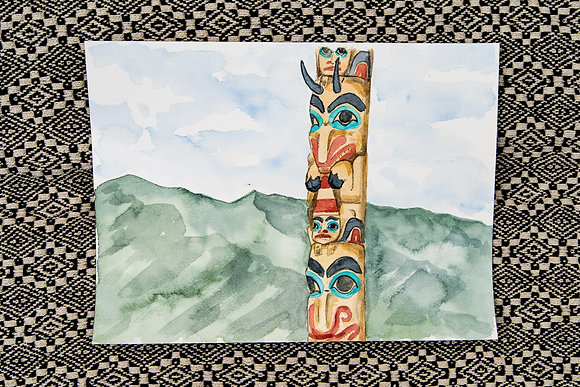 Jasper Totem Pole Watercolour