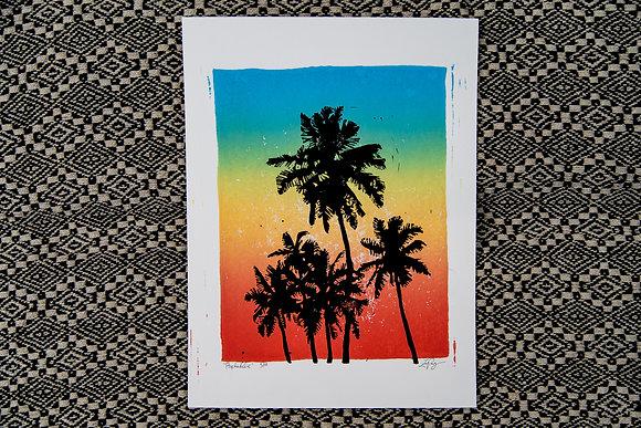 Psychadelic Rainbow Block Print
