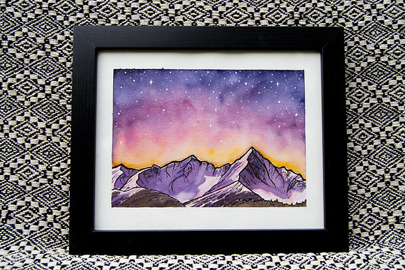 Pink Mountains - Original Watercolour