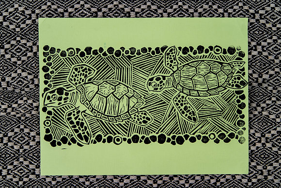 Green Sea Turtle Block Print