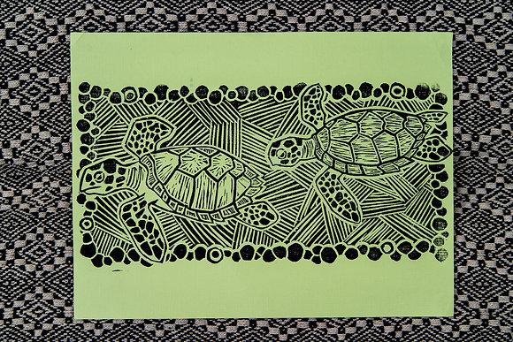 Green Sea Turtle Block Print